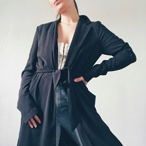 BLACK WOVEN TRENCH DUSTER